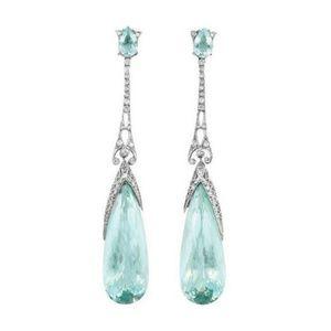 Aquamarine Blue Silver Earrings Dangle Teardrop